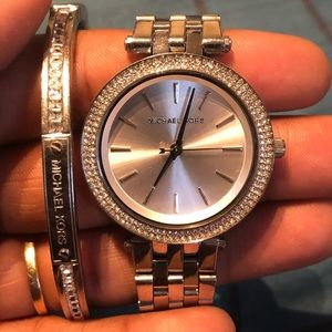 Sterling Silver Michael Kors Watch And Bracelet